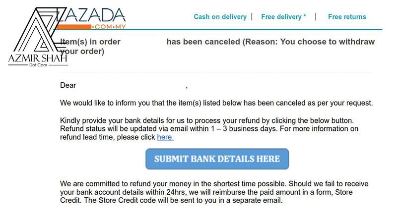 refund lazada, pengesahan akaun bank, refund di lazada