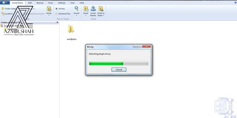 zip file wordpress, extract wordpress file